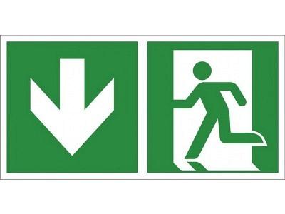 Rettungszeichen Notausgang, Richtungspfeil abwärts